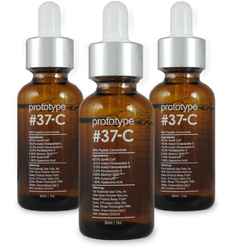 Prototype 37-C (3 Pack) - Age & Wrinkle Serum with 99% Peptide Concentration - Feel Young Again (Prototype 37 C Best Price)