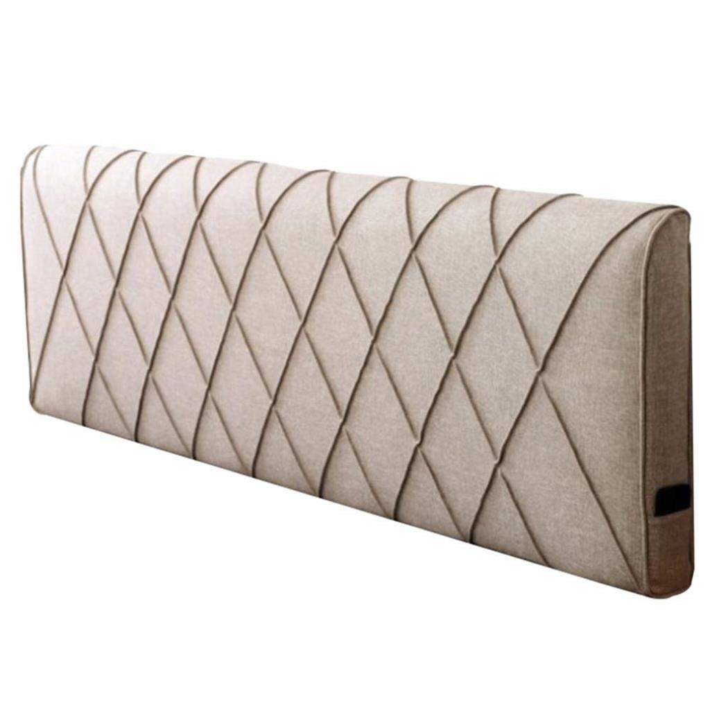 RDMZ Bed Backrest Cushion Without Headboard Large Pillow Sofa Upholstered Lumbar Soft Removable Washable,5 Colors, 5 Sizes (Color : Light Brown, Size : 100x58x10cm)