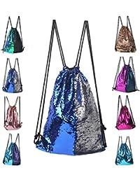 Glitter Drawstring Backpack Sequins Bag for Shopping Travel Sports Gym Yoga