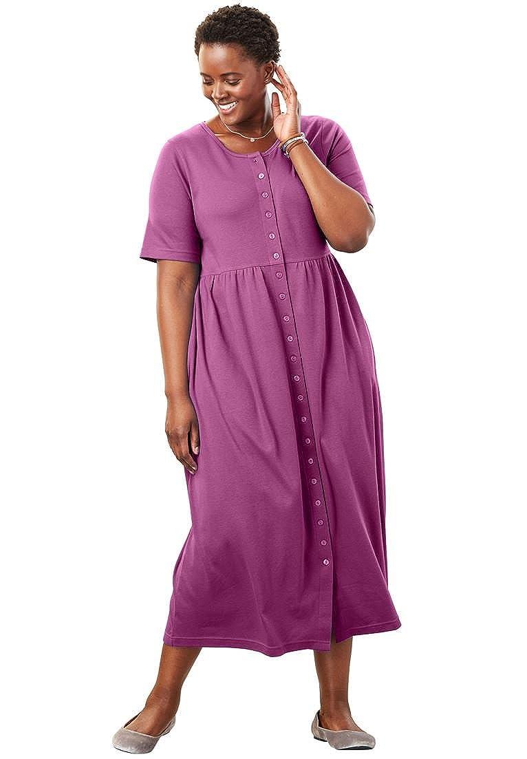 40753b758c Only Necessities Women s Plus Size Petite Empire Waist Button-Front Dress
