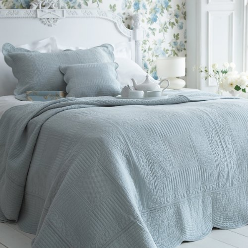 Sashi Bed Linen Milan 100% Cotton Quilted Bedspread, Duck Egg Blue ... : super king quilted bedspreads - Adamdwight.com