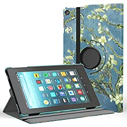 """MoKo Case for All-New Fire HD 8 2017 / Fire HD 8 2016 - 360 Degree Rotating Cover with Auto Wake / Sleep for Amazon Fire HD 8 (7th Gen, 2017 / 6th Gen, 2016) 8"""" Tablet, Almond Blossom"""