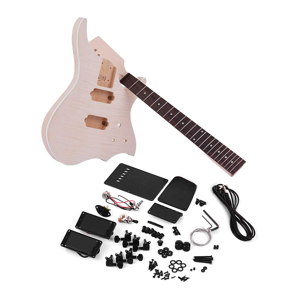 Amazon.com: Festnight Unfinished DIY Electric Guitar Kit, Guitar Accessories Fingerboard Pickup Basswood Guitar Body Neck: Musical Instruments
