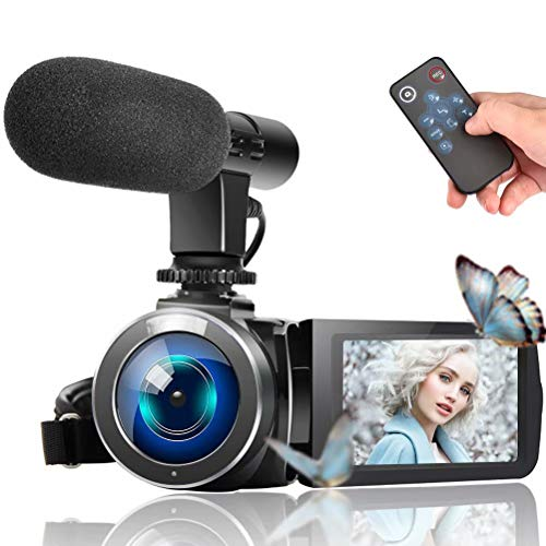 Video Camera Camcorder, Vlogging Camera Full HD 1080P 30FPS 3'' LCD Touch Screen Vlog Video Camera for YouTube Videos with External Microphone and Remote Control