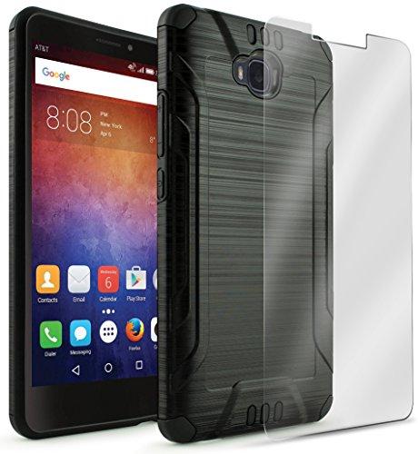 Huawei ASCEND XT Case, Bastex Hybrid Slim Fit Black Rubber Silicone Cover Hard Plastic Black Brushed Metal Design Case for Huawei ASCEND XT (H1611)