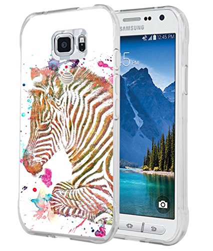 CCLOT Compatible Flexible TPU Protective Silicone Cover Protector Case Replacement if applicable For Samsung Galaxy S7 Active - Zerba Colorful Beautiful Little Zebra Animal Print (Silicone Cover Case Zebra)