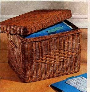 wicker letter file basket with lid