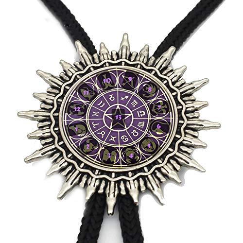 JIA-WALK 12 Zodiac Star Bolo Tie Trendy Glass Dome Zodiac Logo Jewelry Mens Bolo Ties Handmade Slide Necklace,T5 from JIA-WALK