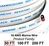 GS Power's 16 Ga (True American Wire Gauge) AWG Tinned Oxygen Free Copper OFC Duplex 16/2 Dual Conductor Red/Black AC Marine Boat Battery Wire. Cable Length: 50 FT (100 Or 200' Options Available)