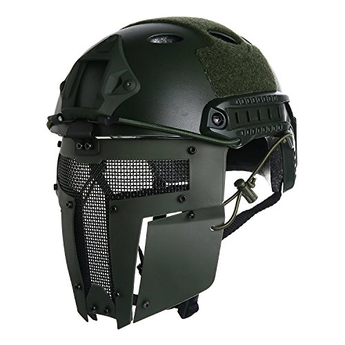 VILONG Airsoft Mask Outdoor Sports Tactical Paintball mask Full Face Skull CS Mask With double filter fan CS edition Perspiration Dust Face Guard (Steel Green)
