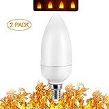 ZDYLM-Y LED Flame Effect Light Bulb 2 Modes E26/E27 LED Flame Effect Candelabra Light Bulb Fire Flickering Emulation Candelabra 3W Vintage Atmosphere Decoration, 2 Pack