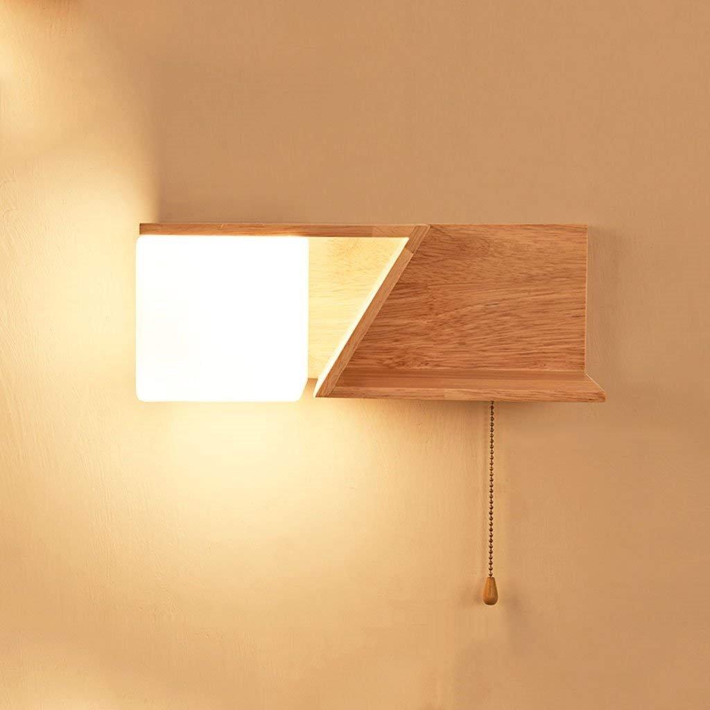 AEXU Anmutig Japanischen Stil Massivholz Schlafzimmer Nacht links rechts Wandleuchte einfache moderne kreative Persönlichkeit Treppen Gang Wohnzimmer Dekoration Nachtlicht (Design  rechts Licht)