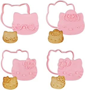 CHEFMADE Hello Kitty Cookie Cutter, 2-Inch 4Pcs Cute Cat-Shaped Plastic Biscuit Pastry Decorating Mold with Handle for Bakeware Tool (Pink)