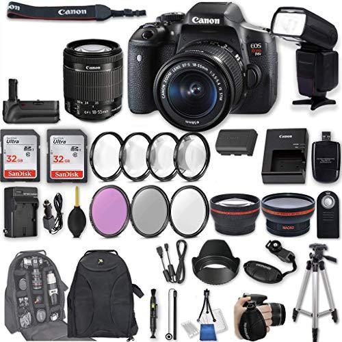 Canon EOS Rebel T6i DSLR Camera EF-S 18-55mm f/3.5-5.6 is STM Lens + 2Pcs 32GB Sandisk SD Memory + Universal Flash + Battery Grip + Filter & Macro Kits + Backpack + 50