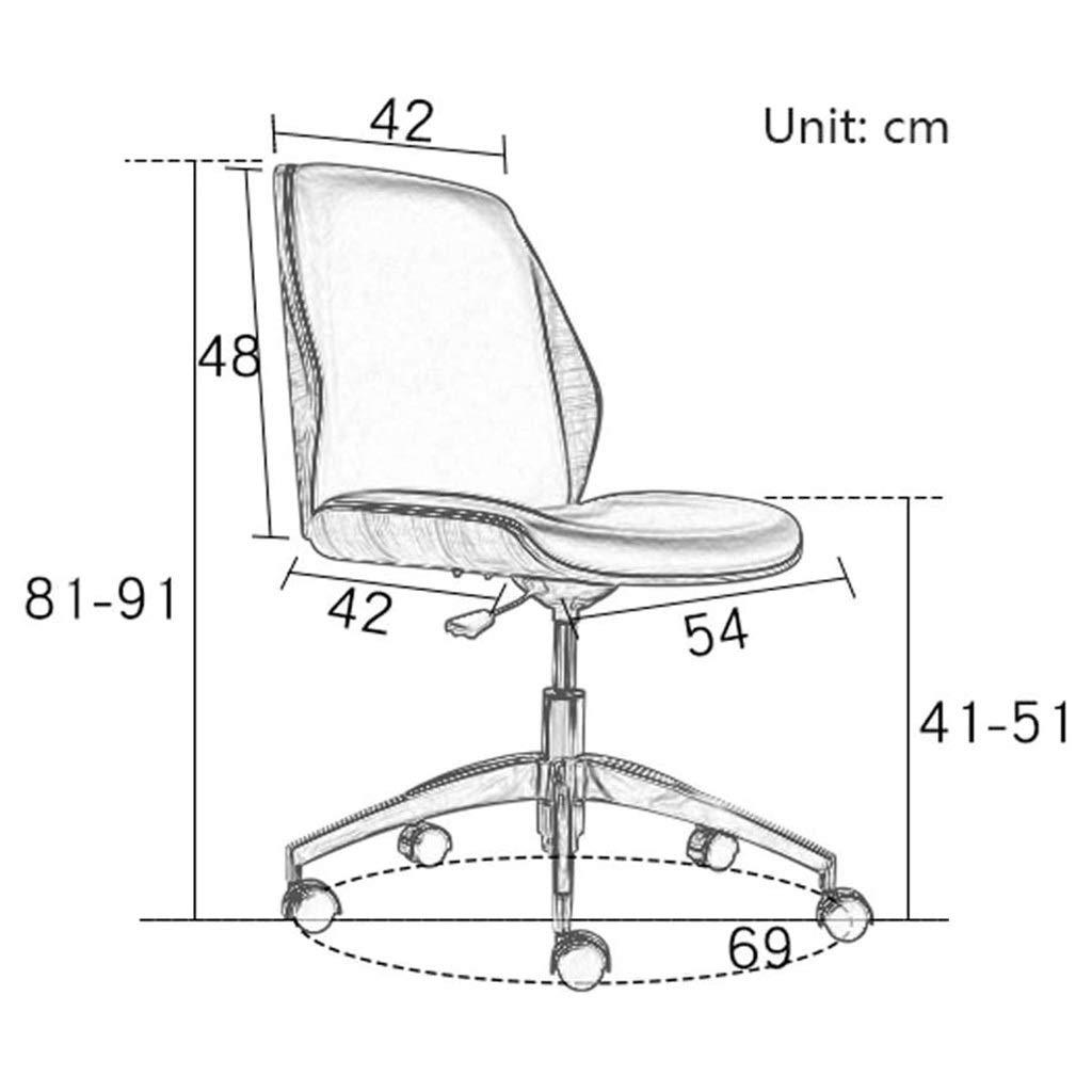 LIN HE SHOP Ergonomisk kontorsstol lyft datorstol svängbar stol hem skrivbordsstol, massivt trä + läder, inga armstöd för hemmet, bekväma kontorsstolar, mötesstol Svart Brun