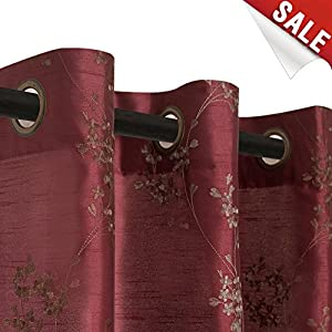 Faux Silk Floral Embroidered Grommet Top Curtains for Bedroom 63 inch Length Embroidery Curtain for Living Room, 2 Panels, Burgundy Red