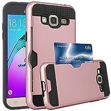 J3 Case, Express Prime Case, Amp Prime Case, Jwest [Card Slot] Shock Absorbent Armor Hybrid Defender Shockproof Protective Wallet Cover Case For Samsung Galaxy J3 / Express Prime / Amp Prime (Rose Gold)