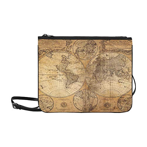 Antique Map Of Africa By Abraham Ortelius Circa Pattern Custom High-grade Nylon Slim Clutch Bag Cross-body Bag Shoulder Bag