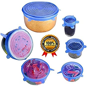 Silicone Stretch Lids Wuudi Silicone lids 6 Pack of Various Sizes BPA Free FDA Approved Food Covers for Cups,Pots,Can,bowls,Dishes,Jars