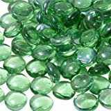 Beenlen Flat Clear Marbles, Pebbles (13.5oz) for Vase Filler, Table Scatter, Aquarium Decor, Gems (Green)