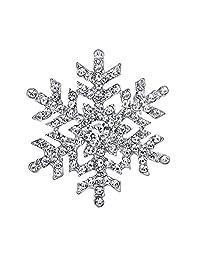 Ever Faith Silver-Tone Snowflake Flower Clear Austrian Crystal Brooch A11453-1
