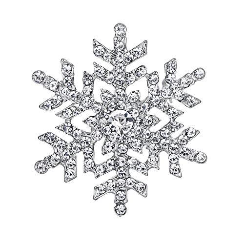 EVER FAITH Austrian Crystal Bridal Elegant Snowflake Flower Brooch Clear Silver-Tone