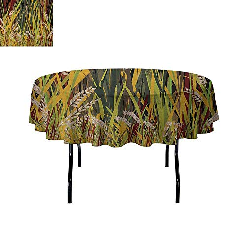 Nature Waterproof Anti-Wrinkle no Pollution Reeds Dried Leaves Wheat River Wild Plant Forest Farm Country Life Art Print Image Table Cloth D47 Inch Multicolor
