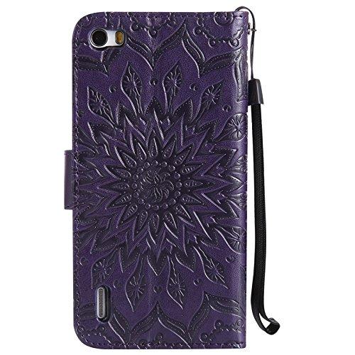 YHUISEN Sun flor de impresión de diseño PU de cuero Flip Cartera Lanyard caso protector con ranura de tarjeta de soporte para Huawei Honor 6 (5,0 pulgadas) ( Color : Rose Gold ) Purple