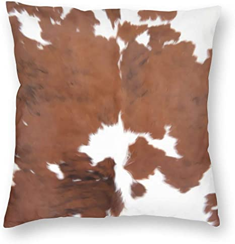 Amazon Com Antcreptson Cowhide Pillows Decorative Throw Pillow Cover Case Farm Animal Brown Cowhide Print Cow Pillow Case 18x18 Inch Square Cushion Cover For Sofa Bedroom Home Kitchen