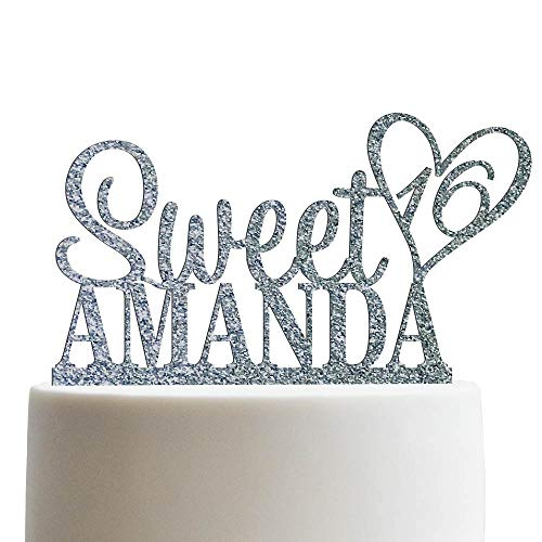 Personalized Sweet Sixteen Cake Topper 16th Birthday Cake Topper Customized Name Quincea–era Cake Topper | Glitter Cake -