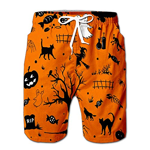 Summer Shorts Pants Halloween with Ghost Tomb Candy Tree Spider Pumpkin Witch On Orange Backdrop Swim Trunks Stripe Casual Swim Shorts XL]()