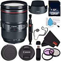 6Ave Canon EF 24-105mm f/4L IS II USM Lens 1380C002 (White Box) + 77mm 3 Piece Filter Kit + 128GB SDXC Class 10 Memory Card + SD Card USB Reader + Lens Cleaning Pen + Deluxe Cleaning Kit Bundle