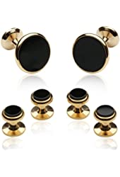 Onyx and 14kt Overlay Cufflinks and Studs