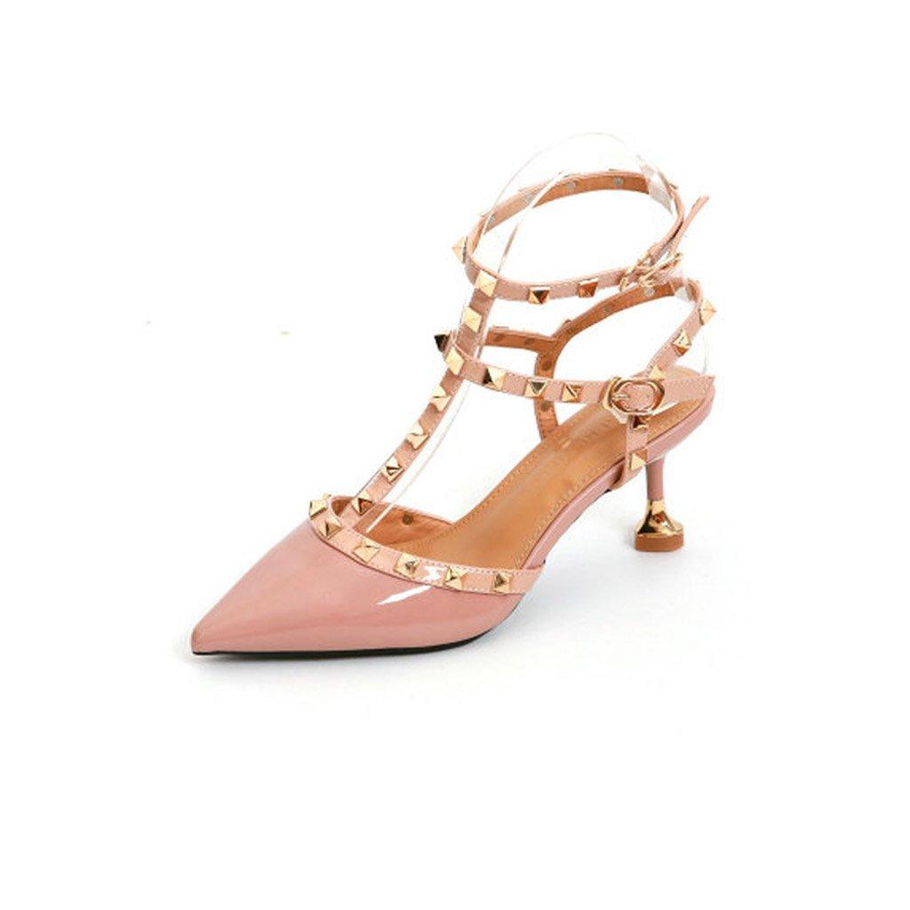 JIANXIN Frauen High Heel Und Fein Und Lackleder Bonbonfarbenen Sandalen Mit Nieten Und T-Typ Verschluss Sexy Wrap. (Farbe   Rosa, größe   EU 38 US 7 UK 5 JP 24.5cm)