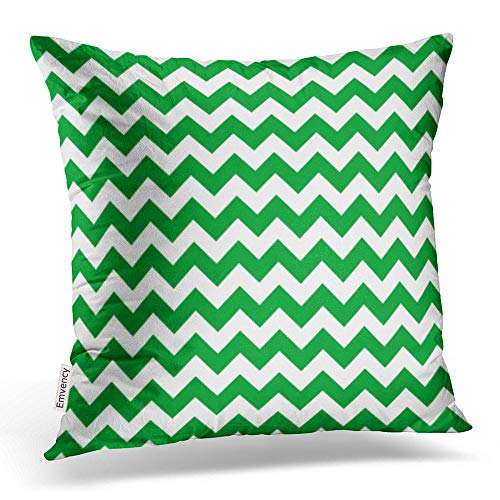Emvency Square 20x20 Inches Decorative Pillowcases Chevron Kelly Green Chevron Stripes Cotton Polyester Decor Throw Pillow Cover with Hidden Zipper for Bedroom ()