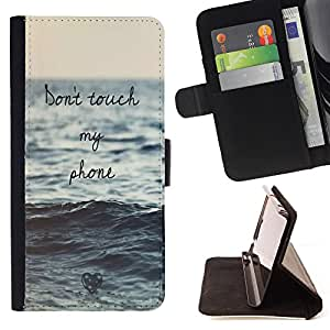 King Art - Premium-PU-Leder-Prima caja de la PU billetera de cuero con ranuras para tarjetas, efectivo Compartimiento desmontable y correa para la mu?eca FOR HTC Desire D816 816 d816t- Don't Touch My Phone Sea