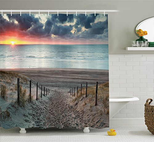 By Ivory 05 Rug (Ambesonne Seaside Decor Collection, Sun Setting View North Sea North Holland Netherlands Footsteps Outdoors Sun Rays Image, Polyester Fabric Bathroom Shower Curtain, 75 Inches Long, Ivory Grey)