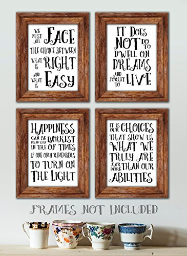 Gabby's Choice Harry Potter Quotes and Sayings Art Prints - Set of Four Photos (8x10) Unframed - Great Gift for Harry Potter Fans