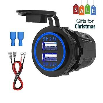 CHGeek Toma USB Cargador de Coche 5V 4.2A , 12V/24V Adaptador Impermeable Encendedor de Mechero con Indicador LED para Motocicletas, Coches, ...