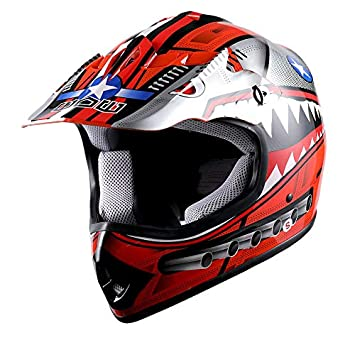 WOW Youth Kids Motocross BMX MX ATV Dirt Bike Helmet Shark Blue