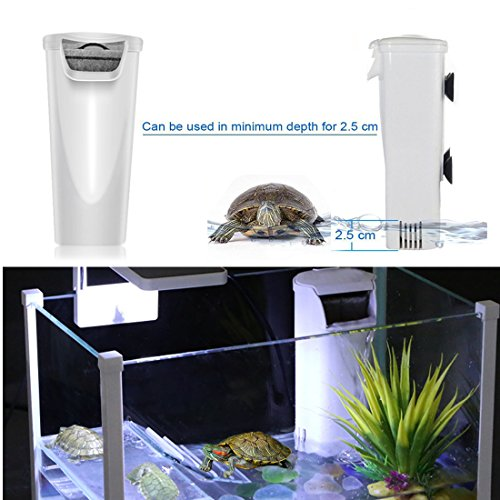 Aquarium Waterfall Filter Reptiles Turtle Filter, Low Level Water Clean Pump Internal Bio Media Water Filtration System for Fish Tank Amphibian Cichlids Frog Up to 55 Galloon (Waterfall Filter) (Filtration Tank Turtle)