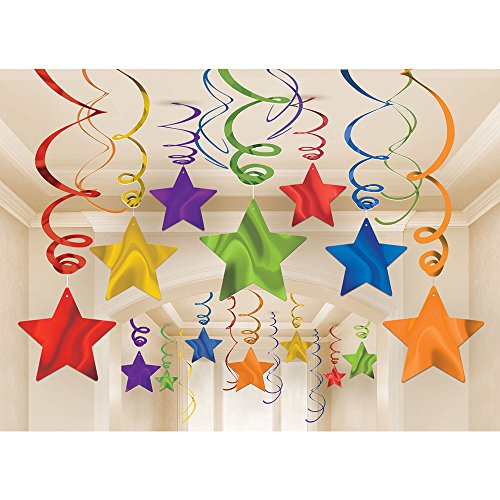 amscan Party Hanging Swirls Shooting Stars Supplies, Rainbow