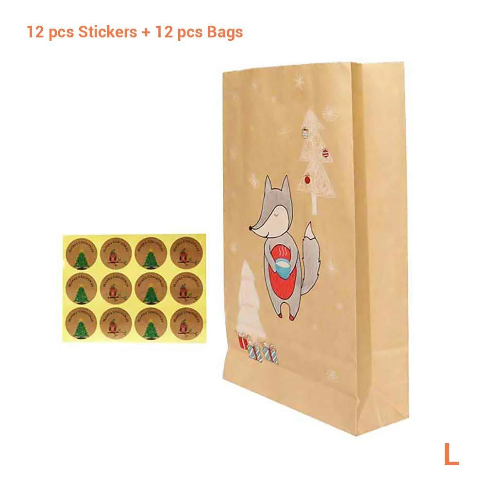 KENANLANLAN con adesivi per famiglia e bambini 24 sacchetti regalo natalizi in carta kraft