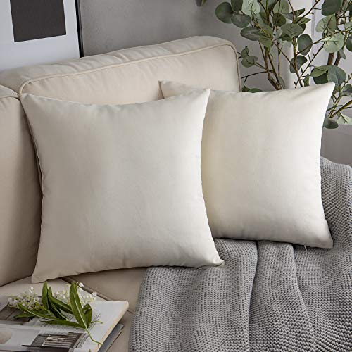 Phantoscope Pack of 2 Velvet Decorative Throw Pillow Covers Soft Solid Square Cushion Case for Couch Off White 18 x 18 inches 45 x 45 cm (Pillows Throw Off White)
