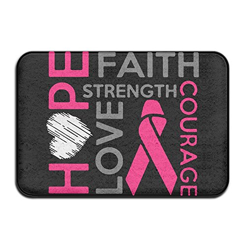 HOPE, FAITH,STRENGTH,LOVE,COURAGE Non-slip Outside/Inside Floor Mat For Health And Wellness Toilet Entrance Rug 23.6''x 15.7'' by EWD8EQ