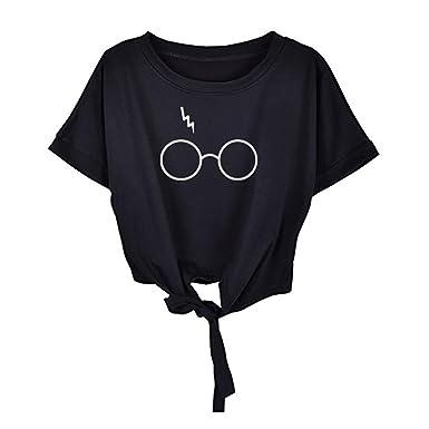 3179a12371 Amazon.com  UONQD Woman Women Short Sleeve Glasses Print O Neck Tops Blouse  T Shirt  Clothing