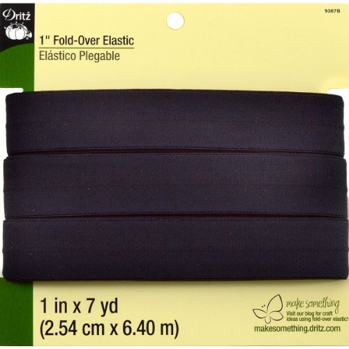 Elastic Trim (Dritz 9387B Fold-Over Woven Elastic, Black, 1-Inch by 7-Yard)