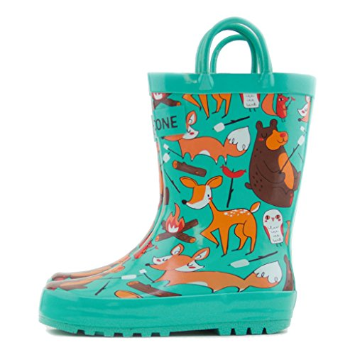 Lone Cone Children's Waterproof Rubber Rain Boots in Fun Patterns with Easy-On Handles Simple For Kids (Campfire Critter Boots, 5 M US Toddler)