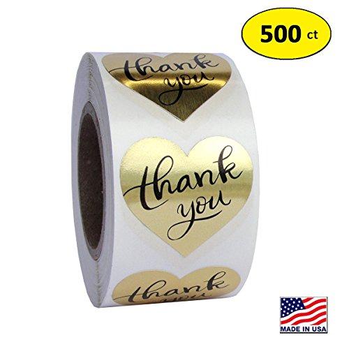 - Gold Heart Shape Foil Sticker Labels, 500 Stickers, 1 1/2 inch diameter, 1.5