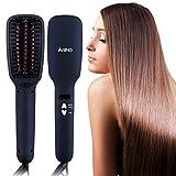 ARINO 2 IN 1 Hair Straightening Brush Ceramic and Ionic Hair Straightener Brush Anion with Faster Heating MCH Technology LCD Display
